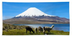 Parinacota Volcano Lake Chungara Chile Beach Sheet by Kurt Van Wagner