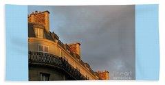 Beach Towel featuring the photograph Paris At Sunset by Ann Horn