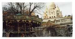 Paris Carousel Merry Go Round Montmartre - Carousel At Sacre Coeur Cathedral  Beach Towel