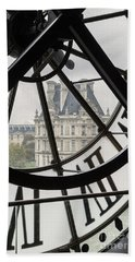 Paris Clock Beach Towel