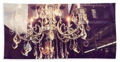 Paris Crystal Chandelier Sparkling Lights - Golden Paris Chandelier Window Reflections Beach Towel