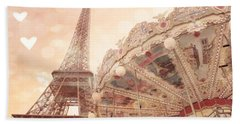 Paris Dreamy Eiffel Tower And Carousel With Hearts - Paris Sepia Eiffel Tower And Carousel Photo Beach Towel