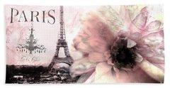 Paris Eiffel Tower Montage - Paris Romantic Pink Sepia Eiffel Tower Flower French Cottage Decor  Beach Towel
