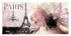 Paris Dreamy Eiffel Tower Montage - Paris Romantic Pink Sepia Eiffel Tower And Flower French Script Beach Sheet by Kathy Fornal