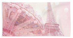 Paris Dreamy Pink Carousel And Eiffel Tower - Eiffel Tower Carousel - Paris Baby Girl Nursery Room Beach Towel