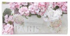 Paris Pink Flowers, Parisian Shabby Chic Paris Flower Box - Paris Floral Decor Beach Towel