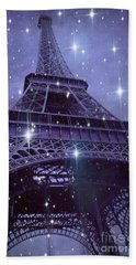 Paris Eiffel Tower Starry Night Photos - Eiffel Tower With Stars Celestial Fantasy Sparkling Lights  Beach Towel by Kathy Fornal
