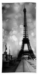 Paris Eiffel Tower Surreal Black And White Photography - Eiffel Tower Bokeh Surreal Fantasy Night  Beach Sheet by Kathy Fornal
