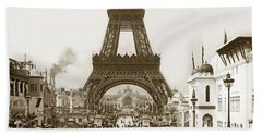 Beach Towel featuring the photograph Paris Exposition Eiffel Tower Paris France 1900  Historical Photos by California Views Mr Pat Hathaway Archives