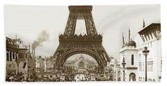 Paris Exposition Eiffel Tower Paris France 1900  Historical Photos Beach Towel