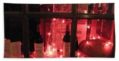 Paris Holiday Christmas Wine Window Display - Paris Red Holiday Wine Bottles Window Display  Beach Towel