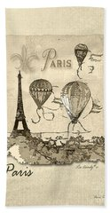 Paris In Sepia Beach Towel