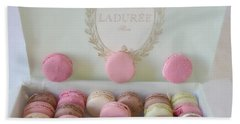 Paris Laduree Pastel Macarons - Paris Laduree Box - Paris Dreamy Pink Macarons - Laduree Macarons Beach Sheet by Kathy Fornal
