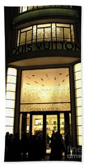 Paris Louis Vuitton Boutique Store Front - Paris Night Photo Louis Vuitton - Champs Elysees  Beach Towel