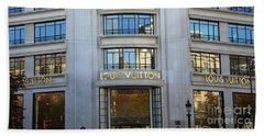 Paris Louis Vuitton Fashion Boutique - Louis Vuitton Designer Storefront In Paris Beach Towel by Kathy Fornal