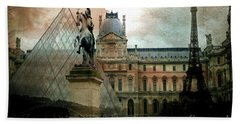 Paris Louvre Museum Pyramid Architecture - Eiffel Tower Photo Montage Of Paris Landmarks Beach Towel