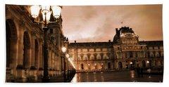 Paris Louvre Museum Sepia Night Lights Street Lamps - Paris Sepia Louvre Museum Night Photography Beach Towel