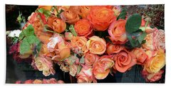 Paris Roses Autumn Fall Peach Orange Roses - Paris Roses Flower Market Shop Window Beach Towel