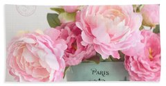 Paris Peonies Shabby Chic Dreamy Pink Peonies Romantic Cottage Chic Paris Peonies Floral Art Beach Sheet by Kathy Fornal