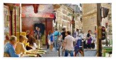 Paris Streetscape Watercolor Beach Towel