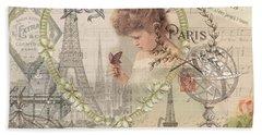 Paris Vintage Collage With Child Beach Towel