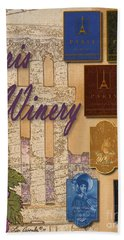 Paris Winery Labels Beach Towel
