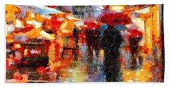 Parisian Rain Walk Abstract Realism Beach Sheet