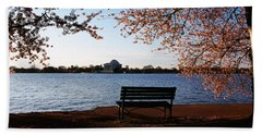 Park Bench With A Memorial Beach Towel by Panoramic Images