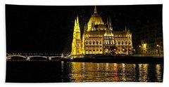 Parliament At Night Beach Towel