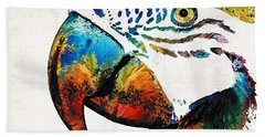 Parrot Head Art By Sharon Cummings Beach Towel by Sharon Cummings
