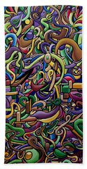 Colorful Abstract Illusion Artwork Painting, Cosmic Energy Flow Art, Music Frequency Beach Towel