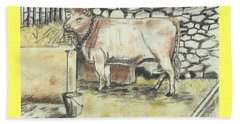 Cow In A Barn Beach Sheet