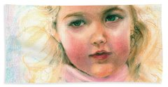 Pastel Portrait Of An Angelic Girl Beach Towel