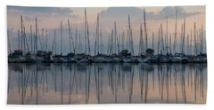 Pastel Sailboats Reflections At Dusk Beach Sheet