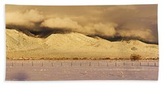 Pasture Land Covered In Snow At Sunset Beach Towel