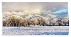 Pasture Land Covered In Snow With Taos Beach Towel