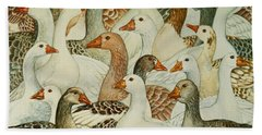 Patchwork Geese Beach Towel by Ditz