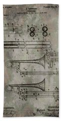 Patent Art Trombone Beach Towel by Dan Sproul