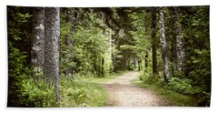 Path In Green Forest Beach Towel
