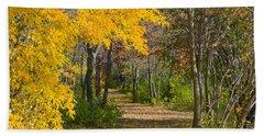 Path Through Autumn Trees Beach Sheet