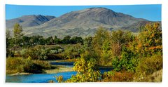 Payette River And Squaw Butte Beach Towel