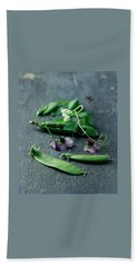 Pea Pods And Flowers Beach Towel