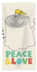 Peace And Love Beach Towel by Eric Fan