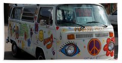 Peace And Love Van Beach Sheet by Dany Lison