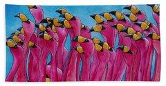 Peace Love And Flamingos Beach Towel