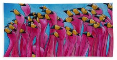 Beach Towel featuring the painting Peace Love And Flamingos by Patti Schermerhorn
