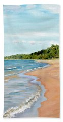 Beach Towel featuring the painting Peaceful Beach At Pier Cove by Michelle Calkins