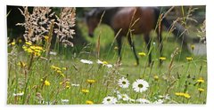 Peaceful Pasture Beach Sheet by Michelle Twohig
