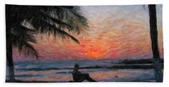 Peaceful Sunset Beach Towel by David Gleeson