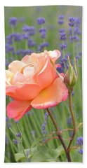 Peach Roses In A Lavender Field Of Flowers Beach Sheet